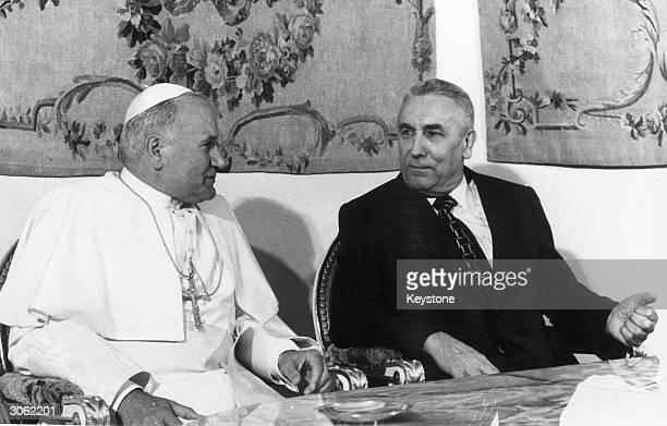Pope John Paul II with the Polish Communist leader Edward Gierek.
