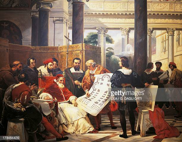Pope Julius II ordering Bramante Michelangelo Raphael to construct the Vatican St Peter's 1827 by Horace Vernet oil on canvas 19th century Paris...