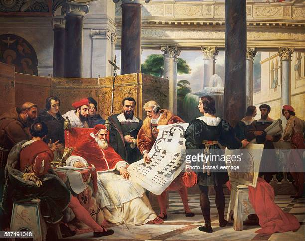 Pope Julius II ordering work on the Vatican and St Peter's Basilica in Rome surrounded by MichelAngelo Bramante and Raphael Painting by Emile Jean...
