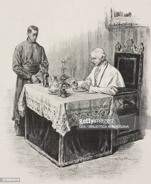 Pope Leo XIII eating a meal Vatican City drawing by Achille Beltrame from L'Illustrazione Italiana Year XXVI No 53 December 31 1899