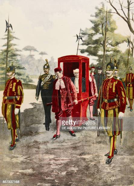 Pope Leo XIII in a sedan chair in the Vatican Gardens Vatican illustration by Enrico Nardi woodcut from Moderne Kunst illustrated magazine published...
