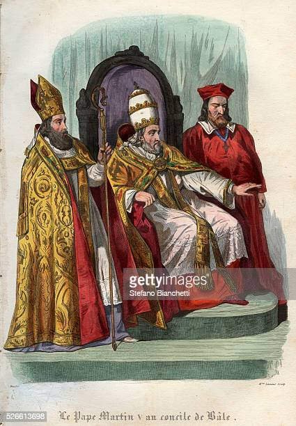 Pope Martin V at the Council of Basel 1431 engraving frome'Histoire des papes' by Maurice Lachatre