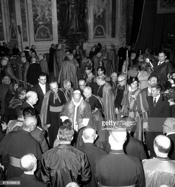 Pope Paul VI after the mass celebration in St Peter's Basilica in 1964