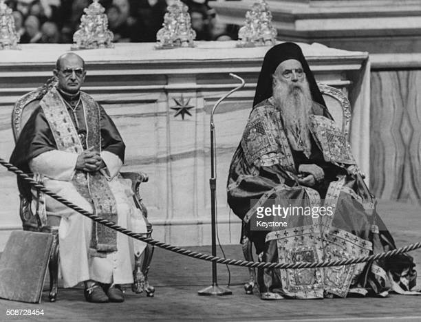 Pope Paul VI and Patriarch Athenagoras of Istanbul, Supreme Leader of the Orthodoxy, sitting together during a ceremony in St Peter's Basilica, Rome,...