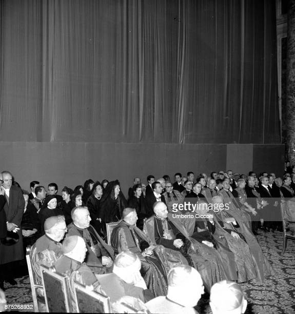 Pope Paul VI during a religious meeting with ecclesiastics at the Vatican in 1964