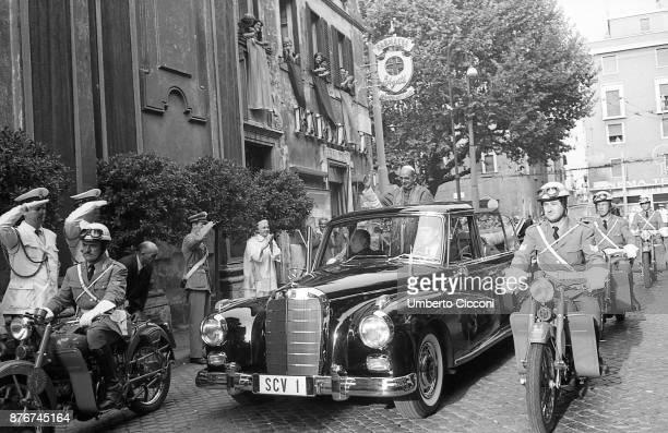 Pope Paul VI escorted in Rome by the Italian police Rome 1964