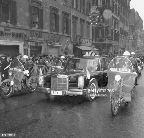 Pope Paul VI escorted in Rome by the Italian Traffic police, Rome 1967.