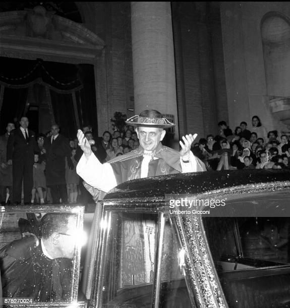 Pope Paul VI in front of St Peter's Basilica in 1964