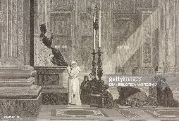 Pope Pius IX at the foot of the statue of St Peter St Peter's Basilica drawing by L Petot from a painting by Jules Joseph Lefebvre from Rome 18641868...