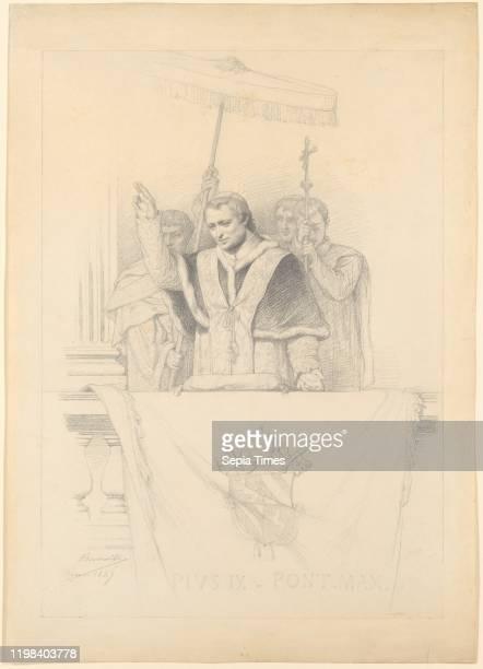 Pope Pius IX Imparting the Blessing Urbi et Orbi 183559 Graphite 23 1/4 x 16 7/16 in Drawings FrancoisLeon Benouville