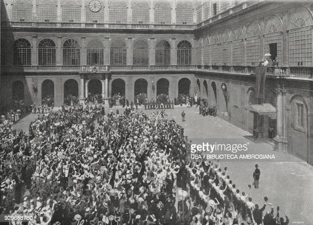 Pope Pius X receiving Catholic gymnasts in the courtyard of St Damaso Vatican City photograph by Felici from L'Illustrazione Italiana Year XL No 37...