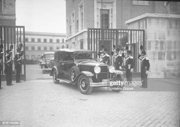 Pope Pius XI inside the car at the Vatican City 1937