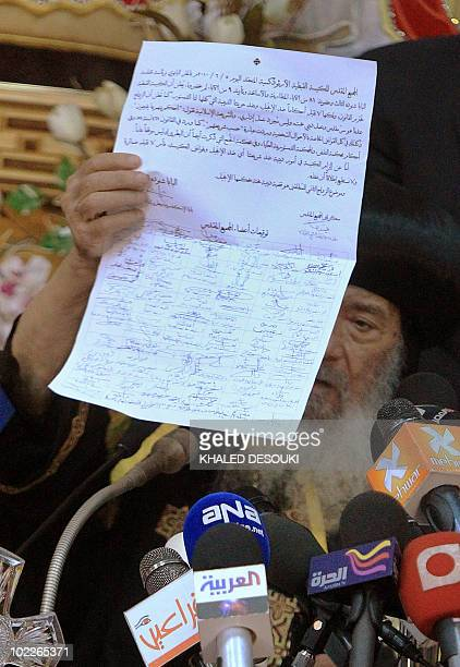 Pope Shenouda III 86 yearsold the 117th Pope of the Coptic Orthodox Church of Alexandria and Patriarch of the Holy See of St Mark shows a signed...