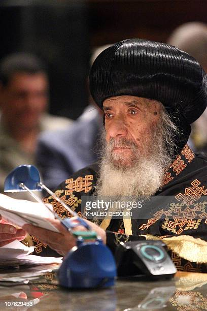 Pope Shenouda III 87 yearsold the 117th Pope of the Coptic Orthodox Church of Alexandria and Patriarch of the Holy See of St Mark gives a sermon...