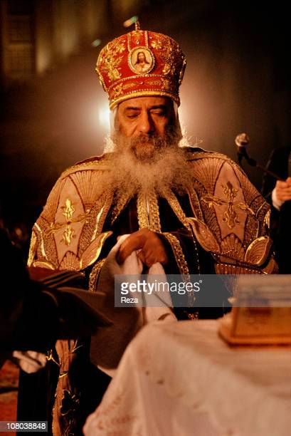 Pope Shenouda III during the Coptic Christmas ceremony celebrated in the Cathedral of St Mark in Cairo on the night of 6th to 7th January in...