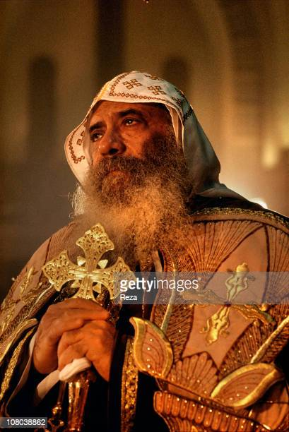 Pope Shenouda III in prayer during the Coptic Christmas ceremony celebrated in the Cathedral of St Mark in Cairo on the night of 6th to 7th January...