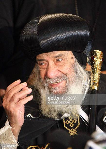 Pope Shenouda III of Alexandria holds a joint press conference with Egyptian Grand Imam of AlAzhar Ahmed alTayeb Egyptian Mufti Ali Gomaa and Egypt's...