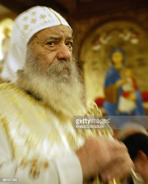 Pope Shenouda III, Patriarch of Alexandria and the See of St. Mark,M, attends the rituals of the consecration of the baptismal font, the altar and...