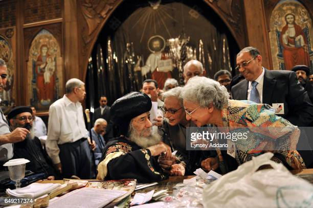 Pope Shenouda III the leader of the Coptic Christians in Egypt greets Christians at a Church in Cairo Egypt Nov 3 2010 The Christian community in...