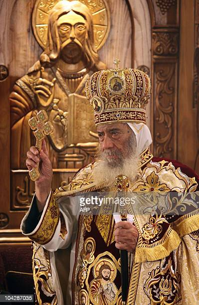 Pope Shenuda III leads the Coptic Easter mass at Cairo's Abbassiya Cathedral in the early hours of April 4 2010 The Coptic Orthodox pope is the...