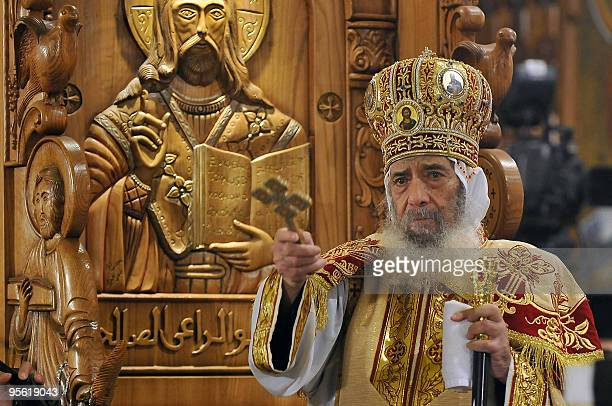 Pope Shenuda III the head of the Egyptian Coptic Orthodox church leads the Christmas midnight mass celebrated along with Orthodox communities across...