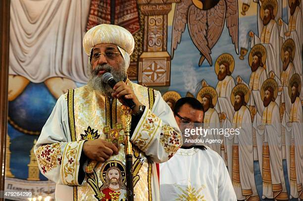 Pope Tavadros II primate of the Ghpti Orthodox Church governs the rite organized for the first death anniversary of former delegate of Egypt's Coptic...
