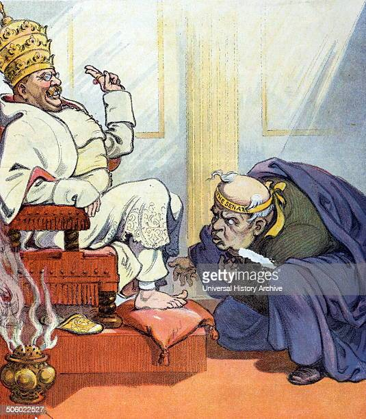 Pope Theo the first by Udo Keppler 18721956 artist Published 1907 Illustration shows Theodore Roosevelt as Pope Theo the first sitting on a throne...
