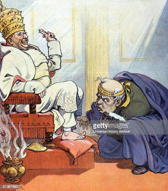 "Pope Theo the first' Theodore Roosevelt as ""Pope Theo the first"" sitting on a throne, wearing the Papal tiara, as a man labelled ""The Senate"" bows..."