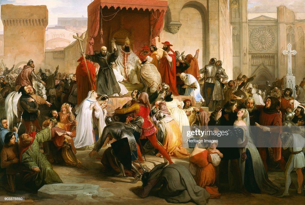 Pope Urban II Preaching The First Crusade In The Square Of Clermont : News Photo