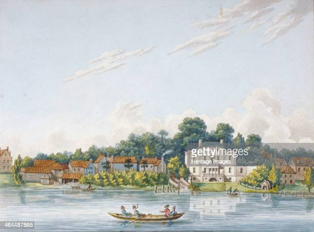 Pope's Villa Twickenham Middlesex c1800 View with a boat and passengers on the River Thames This was the home of the poet Alexander Pope Twickenham...