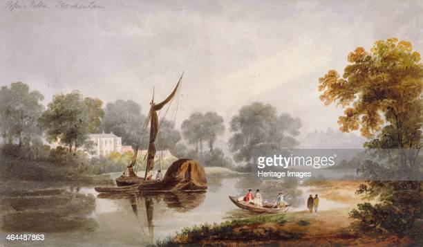 Pope's Villa Twickenham Middlesex c1820 View with boats and passengers on the River Thames This was the home of the poet Alexander Pope Twickenham is...