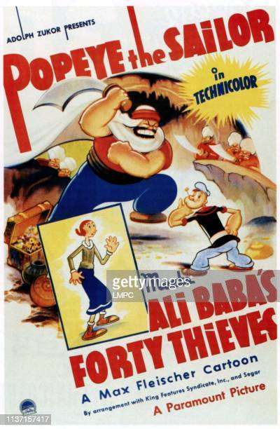Popeye The Sailor Meets Ali Baba's Forty Thieves poster from left Olive Oyl Bluto Popeye 1937