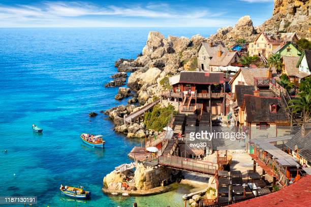 popeye village in the sunny day, malta - malta stock pictures, royalty-free photos & images
