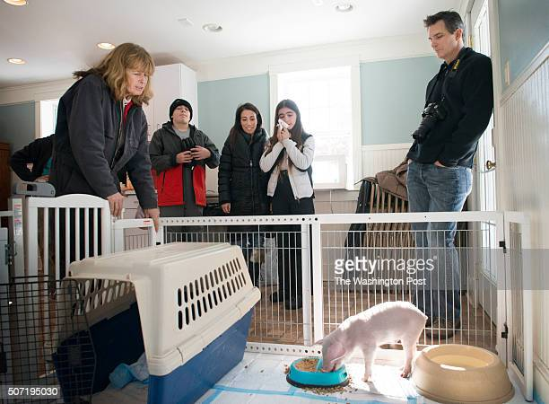 Poplar Springs Animal Sanctuary's Terry Cummings chats with Perry Smith his mother Elisabeth sister Catherine and father Perry about their rescued...