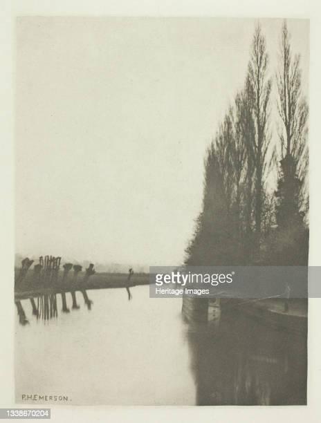 Poplars and Pollards on the Lea, Near Broxbourne, 1880s. A work made of photogravure, plate xix from the album 'the compleat angler or the...