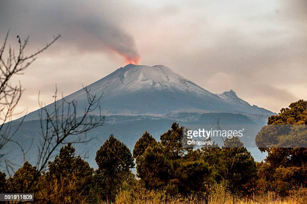 popocatepetl volcano from puebla state - puebla state stock pictures, royalty-free photos & images