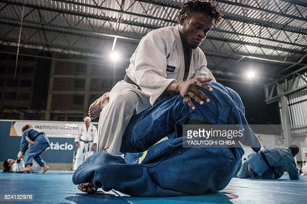 Popole Misenga a refugee judoka from the Democratic Republic of Congo, during a training at Instituto Reacao in Rio de Janeiro, Brazil, on April 14,...