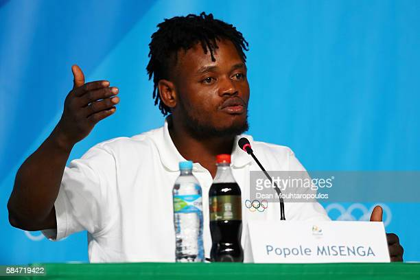 Popole Misenga, a Democratic Republic of Congo Judo fighter, who now represents the team of Refugee Olympic Athletes speaks to the media at the...