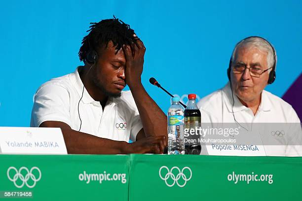 Popole Misenga, a Democratic Republic of Congo Judo fighter, who now represents the team of Refugee Olympic Athletes shows emotion when speaking...