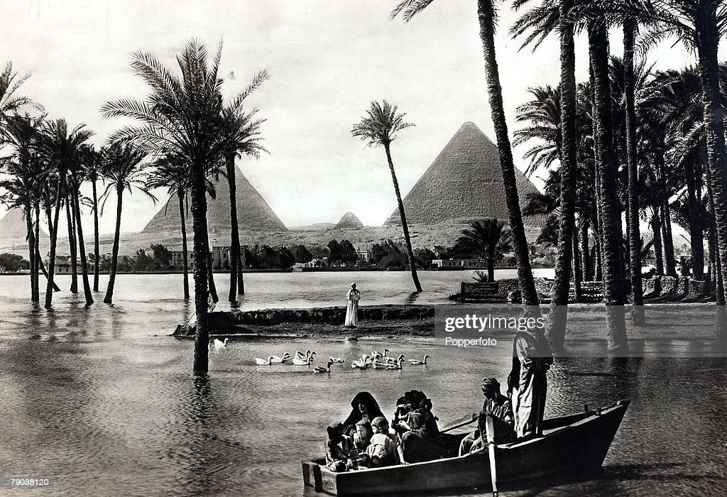 3, The River Nile in flood near the Pyramids, Egypt