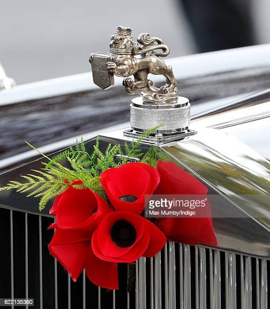 Poppies adorn the bonnet of Prince Philip Duke of Edinburgh's Rolls Royce car as he attends the opening of the Field of Remembrance at Westminster...