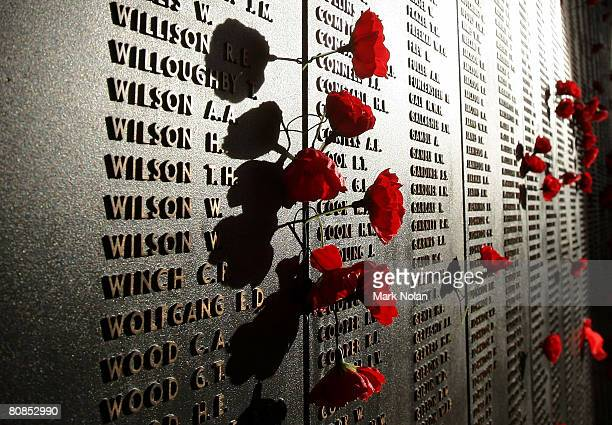 Poppies are placed beside the names of those who lost their lives on the Roll of Honour for World War I after the ANZAC Day Dawn Service at the...
