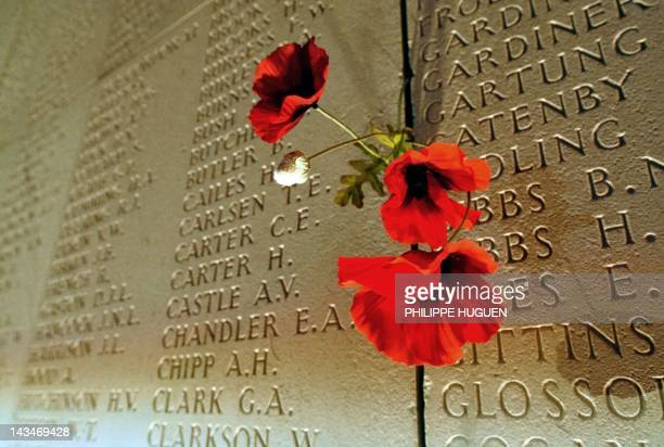 Poppies is pegged on the wall bearing the World War I dead soldiers' names at the Australian War Memorial in the northern French city of...