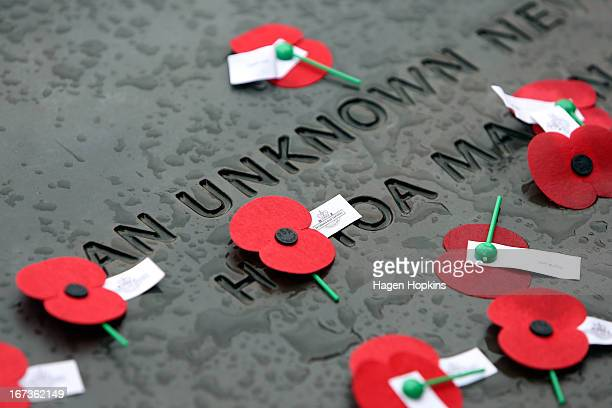 Poppies lay on the Tomb of the Unknown Warrior during the National Commemorative Service at the National War Memorial on April 25 2013 in Wellington...