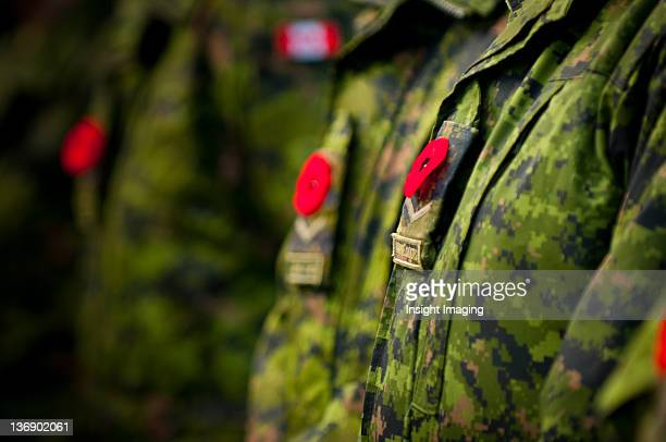 Poppies pinned to Canadian military