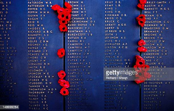 poppies placed on roll of honour at australian war memorial. - war memorial stock pictures, royalty-free photos & images