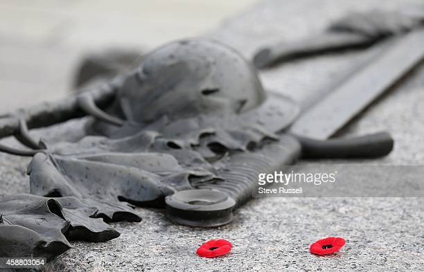 Poppies sit on the tomb of the Unknown Soldier as Preparations are under way War Memorial on the eve of Remembrance Day