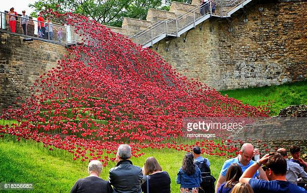 poppies wave art installation at lincoln castle, england - 100th anniversary stock photos and pictures