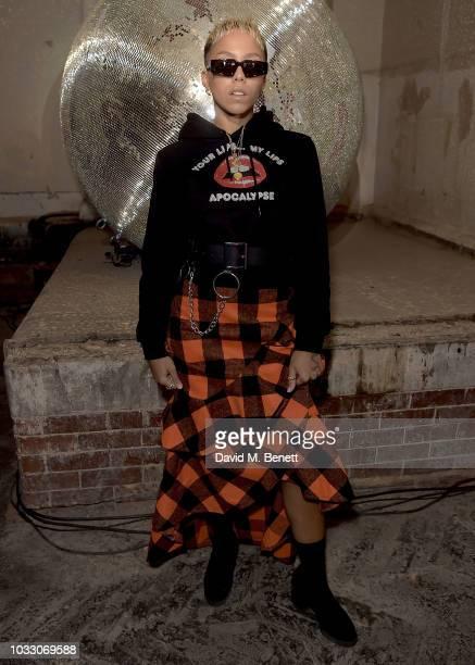 Poppy Adjudha attends the Nicopanda SS19 LFW Runway Show on September 14, 2018 in London, England.