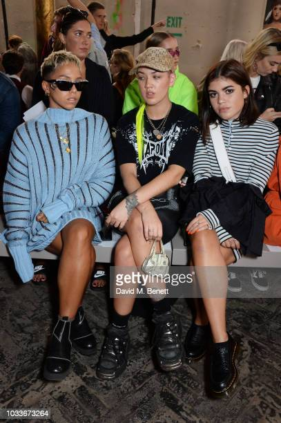Poppy Ajudha Betsy Johnson and Molly Moorish attend the House Of Holland front row during London Fashion Week September 2018 at the My Beautiful City...